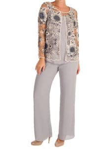 A pale grey chiffon pant suit shows a delicately embroidered jacket over trousers ideal for all sizes of Mother of the Bride