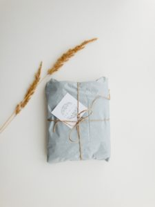 Pretty present wrapped in blue