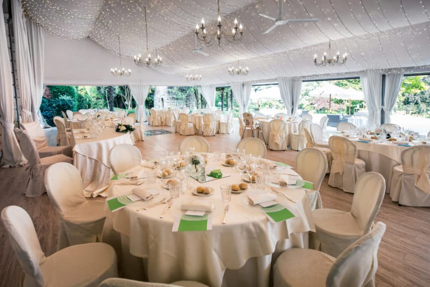 Wedding reception in large marquee