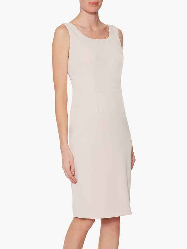Jacket removed, here is this super Mother of the Bride pale pink sleeveles sheath dress by Gina Bacconi.