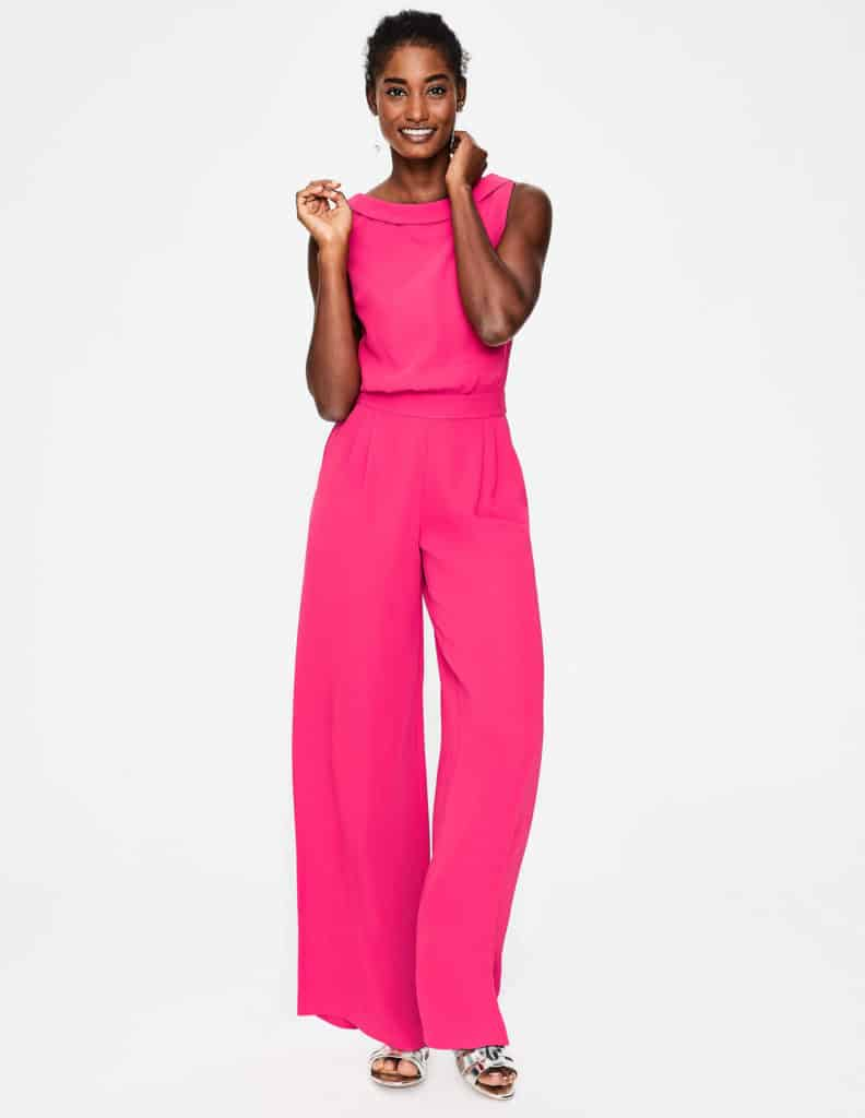 Pink sleeveless jumpsuit by Boden ideal for a young at heart Mother of the bride or wedding guest