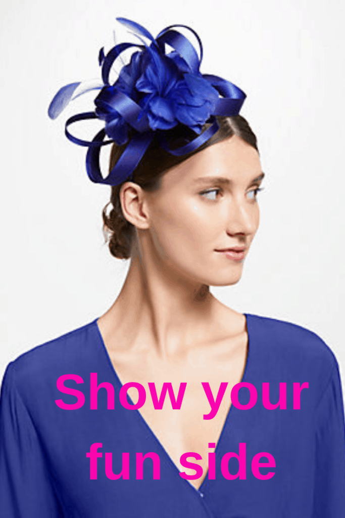 Cobalt blue fun Amy fascinator with ribbons and feathers.  Perfect for your daughter's wedding