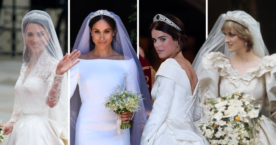 Four royal brides in their wedding gowns