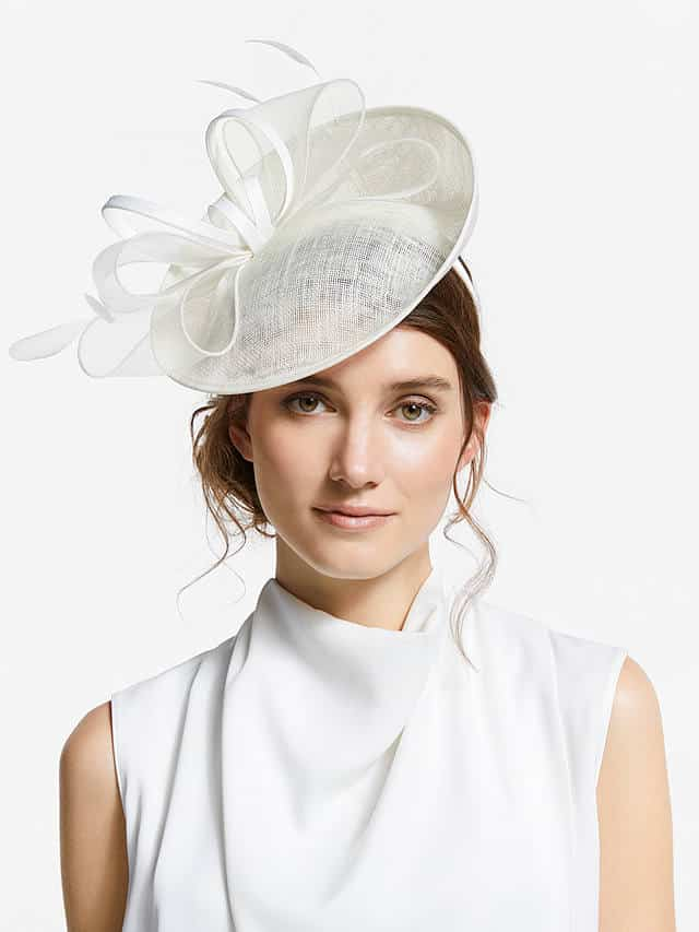 Platinum grey fascinator by John Lewis with large bows, feathers and upturned brim