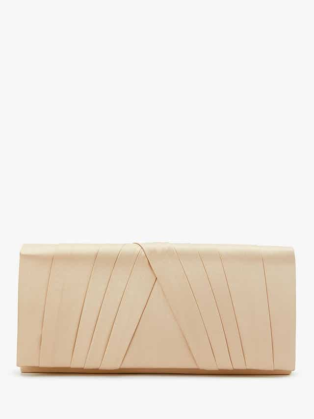 A sleek little occasion bag with silky pleating on the outside in very pale pink