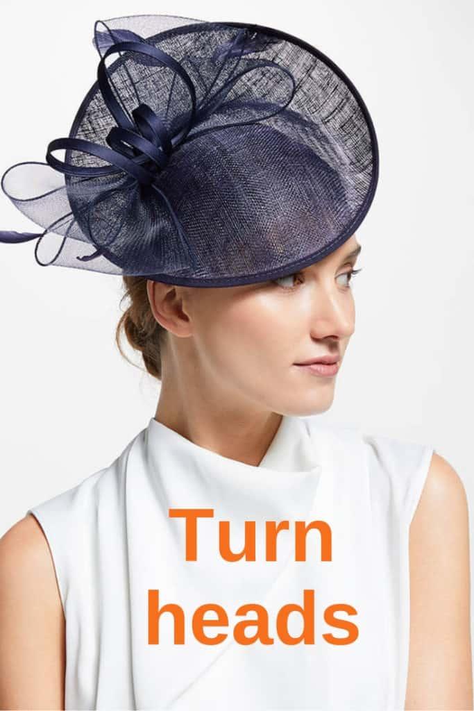 Navy wedding hat with upturned brim