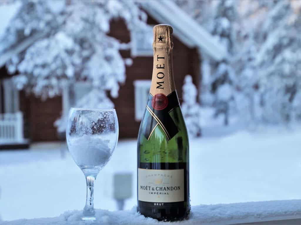 Moet et Chandon champagne in an iced bottle with frosted glass