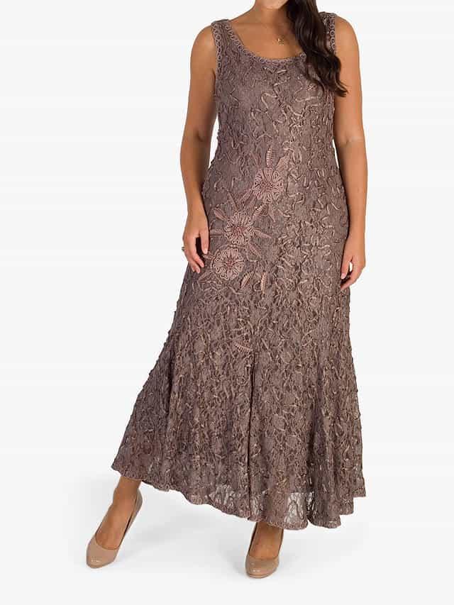 Midi plus size occasion dress in cappuccino lace