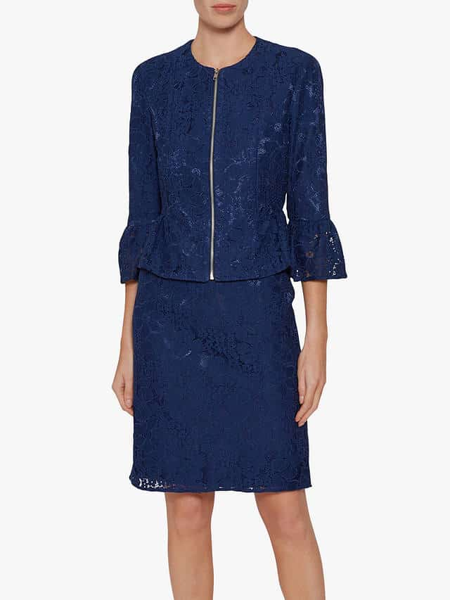 Front zip jacket with peplum waist in navy lace for mother of the bride or groom