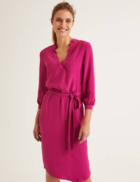 Boden Florence dress in vibrant plum with V neck and tie waist