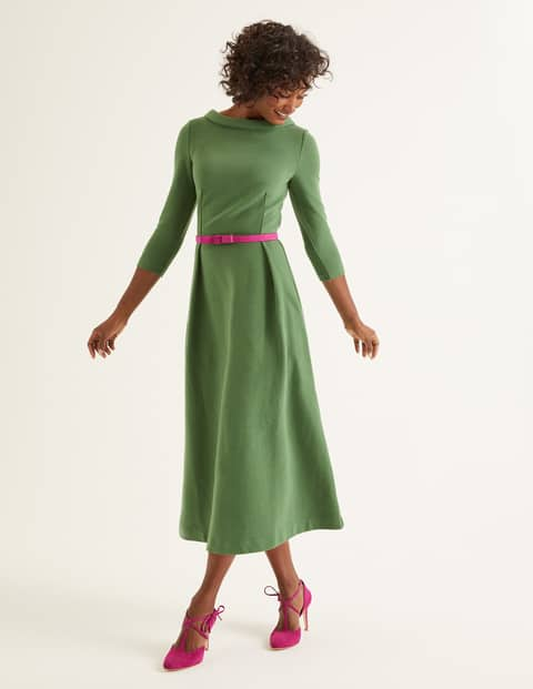 Boden Violet Ottoman dress in broad bean green with fitted top and flared midi skirt