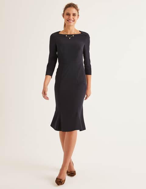 Boden fitted Violette dress in navy with flared hem