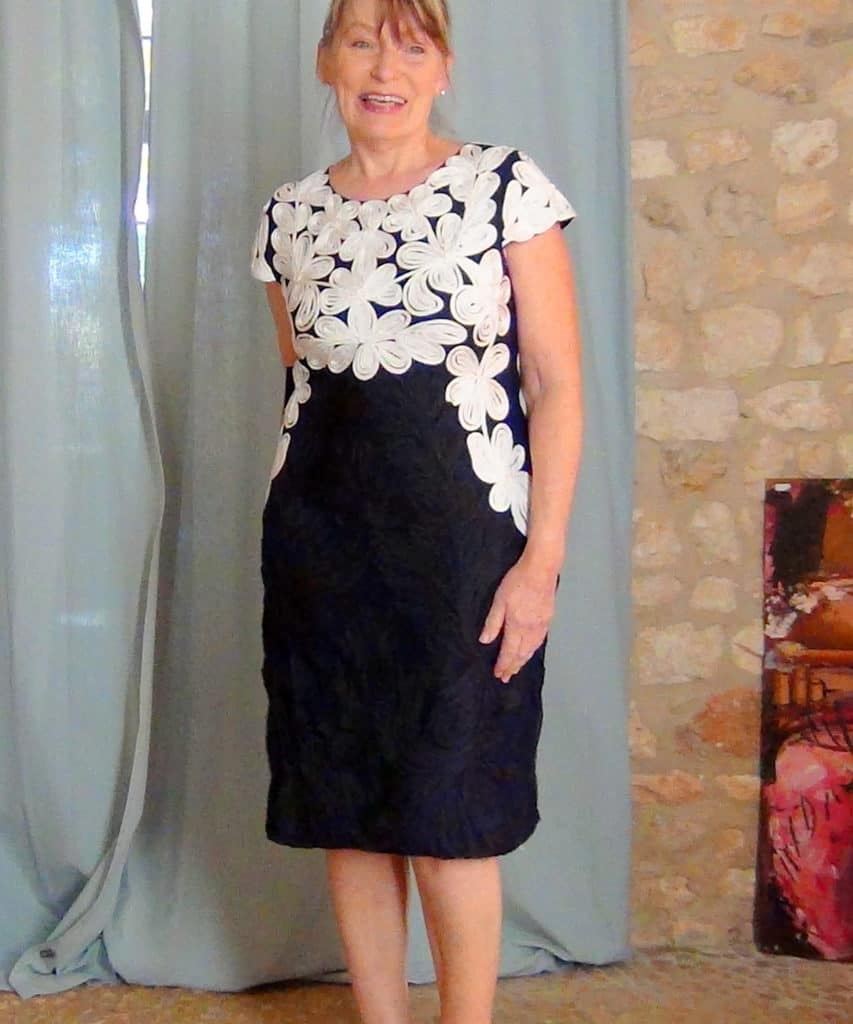 A home real life try on of the Catheleen dress by Phase Eight in navy and ivory tapework