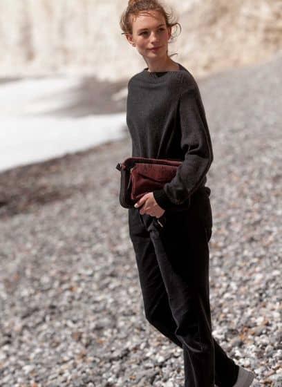 Straight leg corderoy trousers by Brora in dark grey worn on a beach winter walk