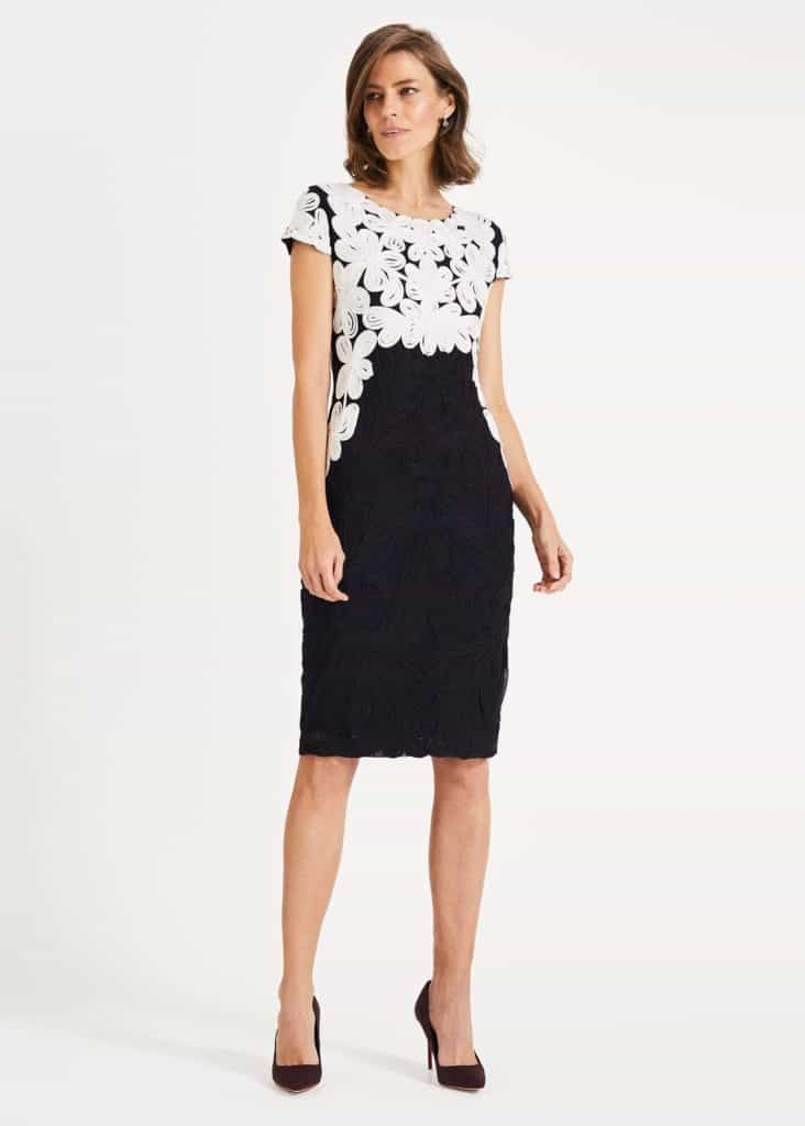 Phase Eight Catheleen dress in navy tapework with ivory contrast design across bodice and cap sleeves