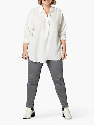 Plus size white shirt to hang over trousers or jeans.  Wear sleeves rolled up.