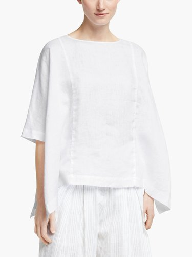 Linen square-cut white top with half-length sleeves