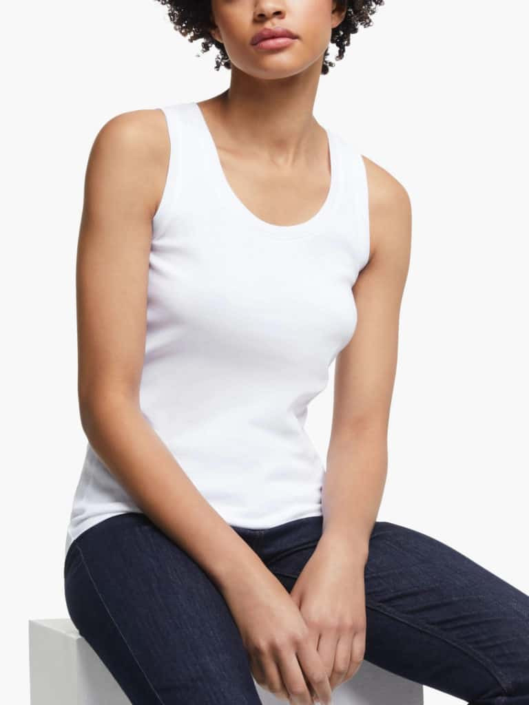 Simple scoop neck soft cotton tank tee shirt in white