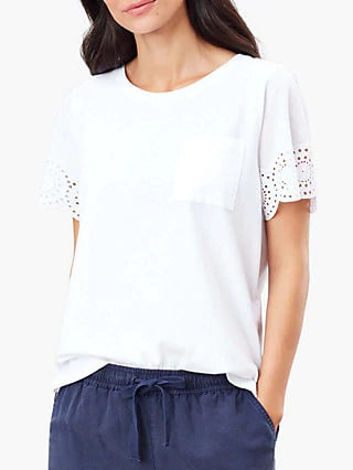 Tee shirt with broderie short sleeve by Joules.  Perfect with drawstring waist pants.