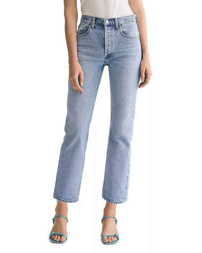 Easy to wear mid-wash blue jeans, straight legs, high waist.  They stop just above the ankle.