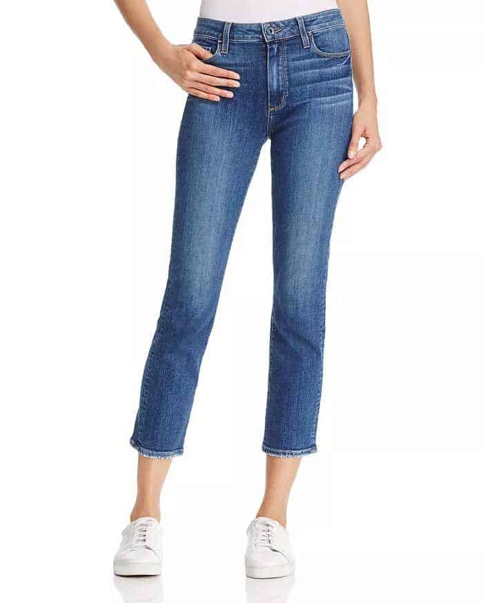 Cropped Mom jeans in traditional mid blue denim