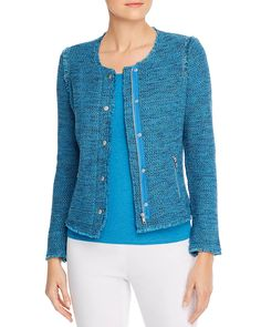 NIC and Zoe blue fringed knitted jacket-style cardigan from Bloomingdale's