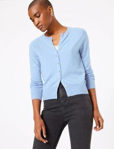Ple blue short cashmerecardigan over tee shirt from Marks & Spencers