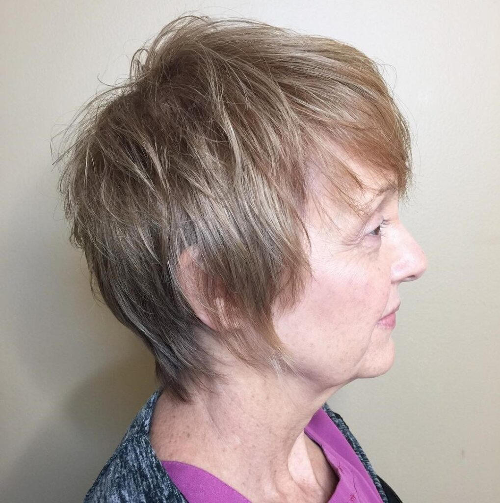 Woman over 50 with thin hair layered style