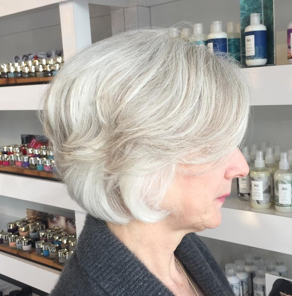 Woman over 60 with layered short hair