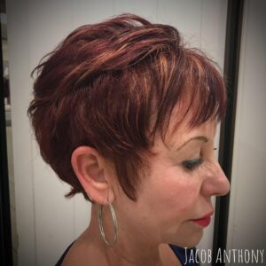 Bold mahogony color for pixie cut