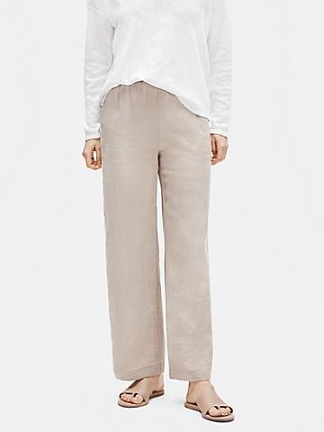 Pale greish beige straight linen pants