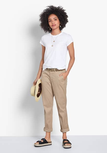 Beige chinos with a white shirt