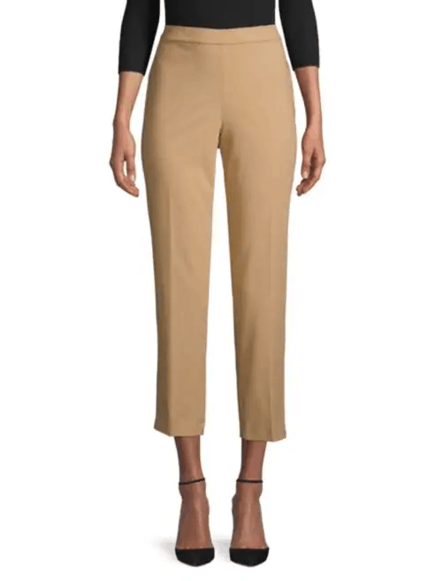 Elasticated waist cropped pants in sandy colored beige
