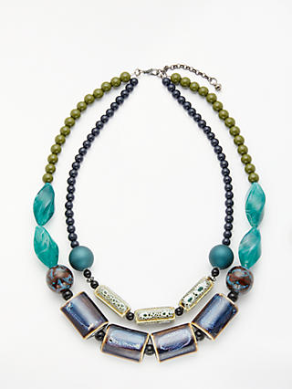 Craft style blue necklace by One Button