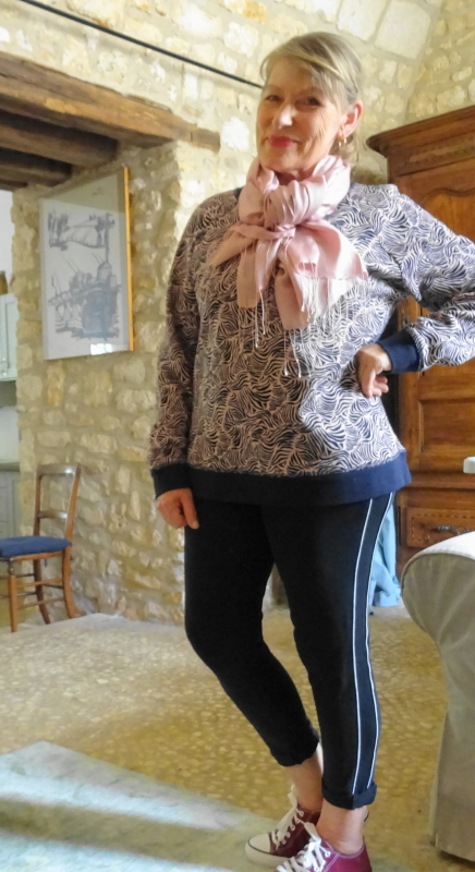 Sweatshirt in navy and pink by Boden worn with a pink pashmina by Phase Eight and jogging bottoms by Marks & Spencer