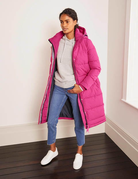 Full length puffer coat in bright pink by Boden