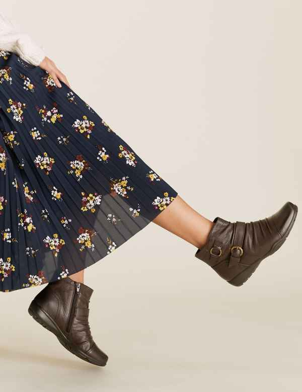 Marks and Spencer's pixie boots in brown ruched leather