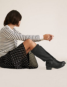 Marks and Spencers knee-high black boots with strong sole