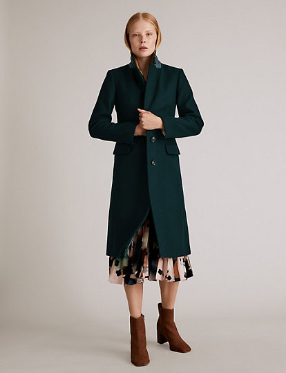 Green knee-length traditional wool coat from Marks & Spencer