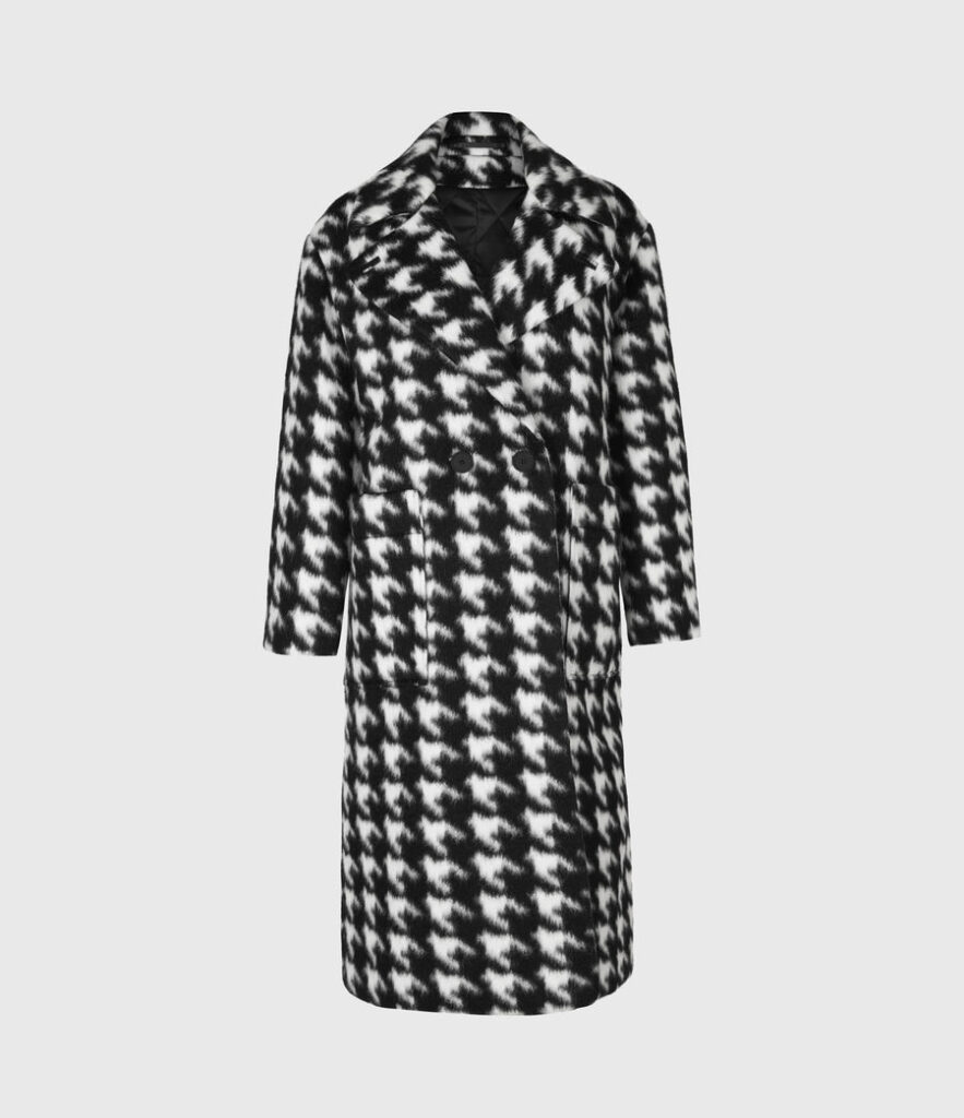 Long black and white houndstooth check winter coat by All Saints
