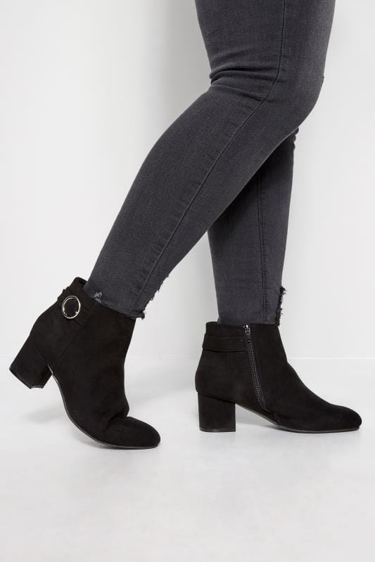 Cute suede ankle boots with side buckle by Yoursclothing