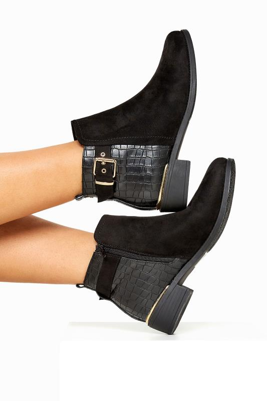 On-trend black croc ankle boots with gold buckle by Yoursclothing