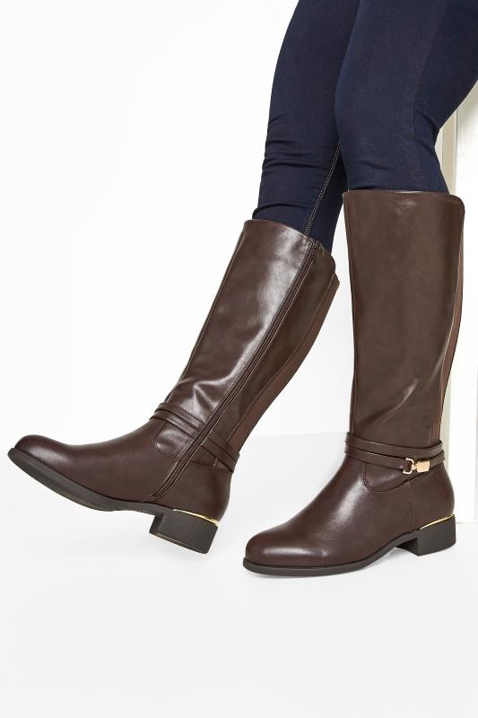 Smart brown leather-look riding boots with gold trim by Yoursclothing