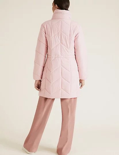 Pale pink puffer coat by Marks and Spencer