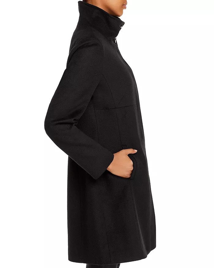 Black A line swing coat by Via Spiga