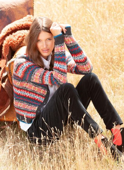 Brora all-over patterned Fais isle wollen cardigan in blues and reds