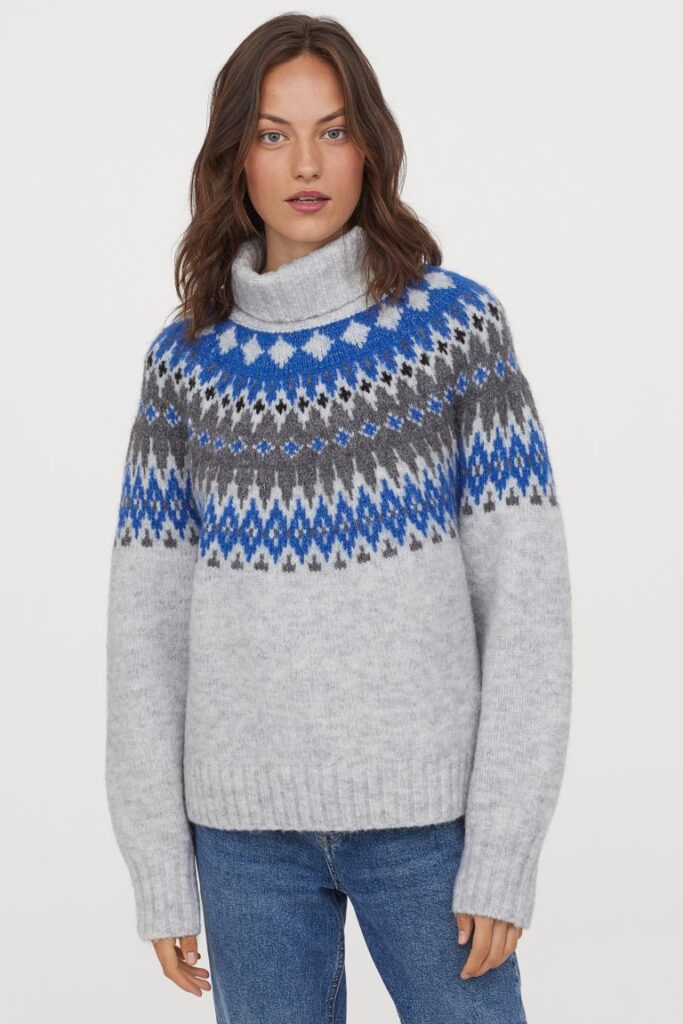 Funnel neck oversize sweater in grey and blue Fair Isle by H&M
