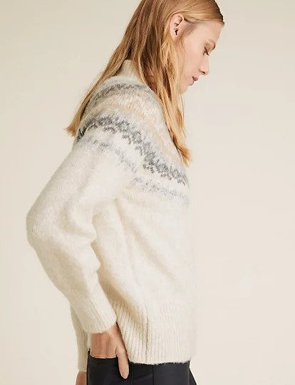 M&S funnel neck Fair Isle style easy-fit sweater in grey, beige and cream