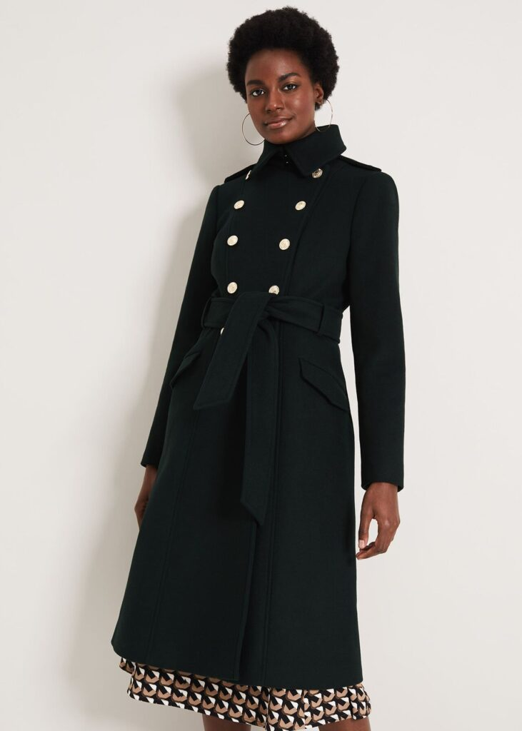 Military style wool coat in green with high collar