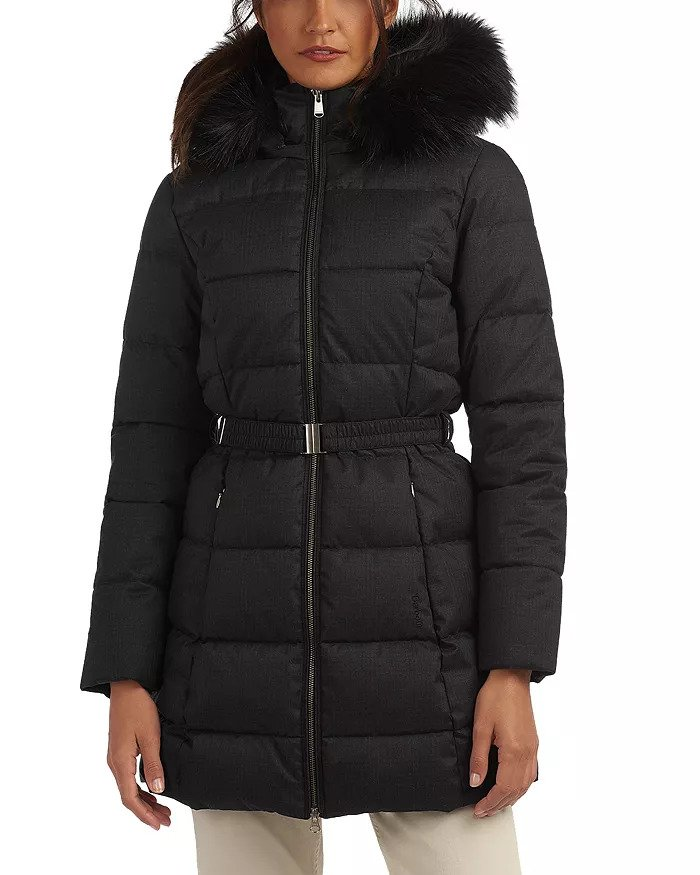 Barbour puffer style coat with fur trim in navy